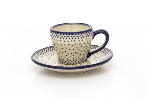 Polish Pottery Expresso Cup w/ Saucer 2 oz (F-037) Simple Elegance
