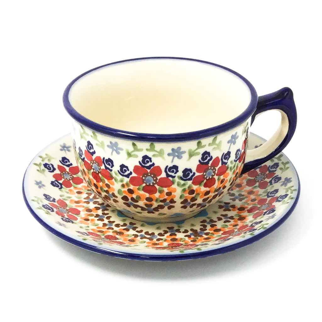 Polish Pottery Tea Cup w/ Saucer 8 oz in Summer Summer
