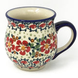Polish Pottery Gentlemen's Cup 16 oz (K-068S) Red Poppies