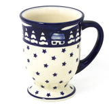 Polish Pottery Pedestal Cup 16 oz (K-057) Winter