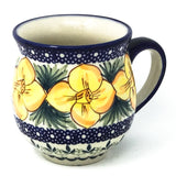Polish Pottery Gentlemen's Cup 16 oz (K-068S) Daffodils