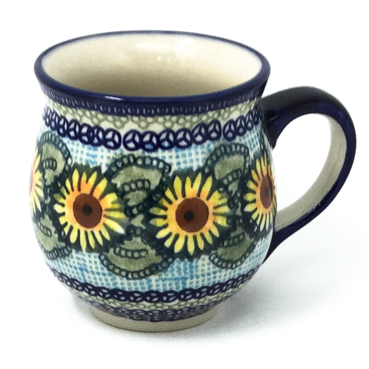 Polish Pottery Gentlemen's Cup 16 oz in Sunflowers Sunflowers