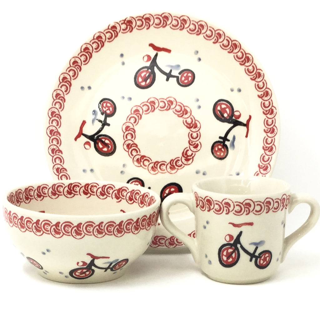 Polish Pottery Child Dinner Set in Bicycle Bicycle