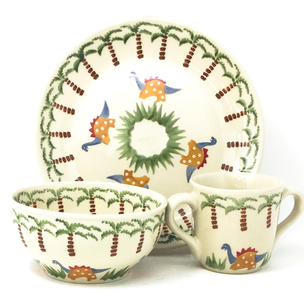 Polish Pottery Child Dinner Set in Dinosaurs Dinosaurs