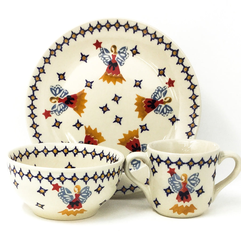 Polish Pottery Child Dinner Set in Angels Angels