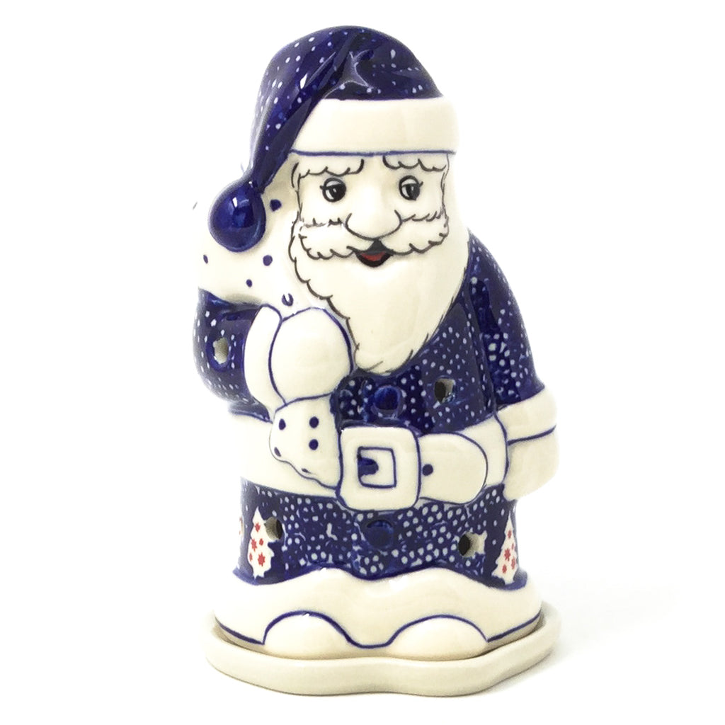 Polish Pottery Santa Tea Candle Holder in Winter Village Winter Village