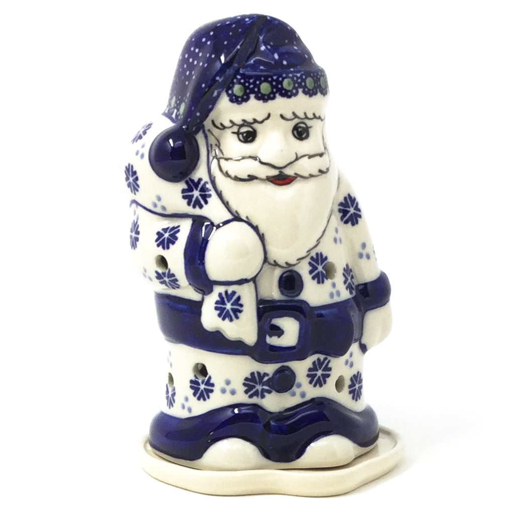 Polish Pottery Santa Tea Candle Holder in Christmas Trees Christmas Trees