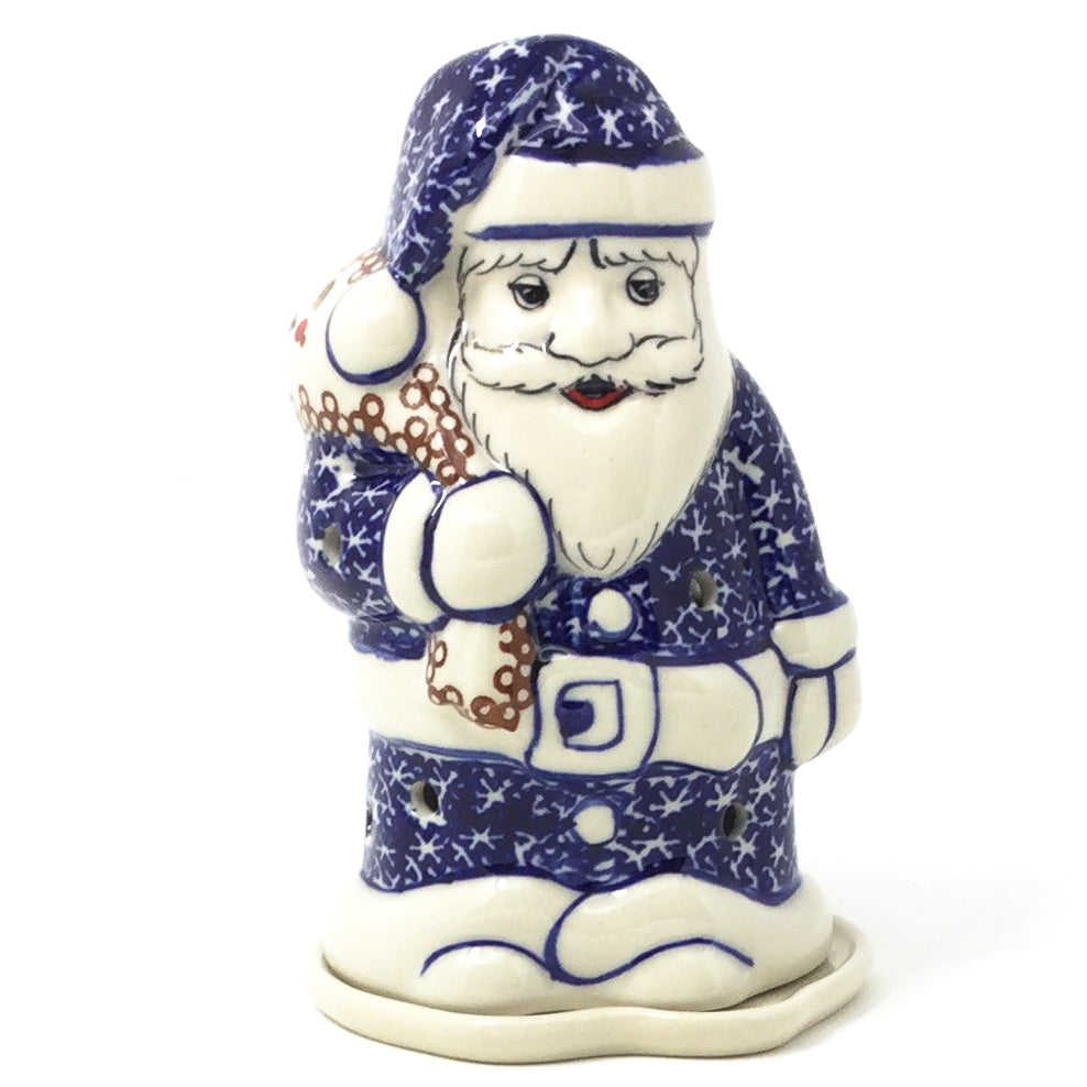 Polish Pottery Santa Tea Candle Holder in Holly Holly