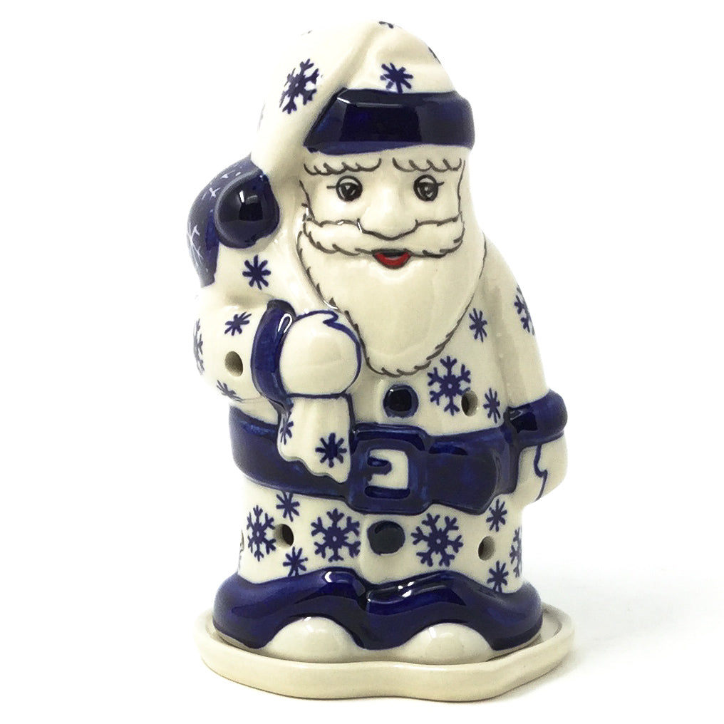 Polish Pottery Santa Tea Candle Holder in Snowflake Snowflake