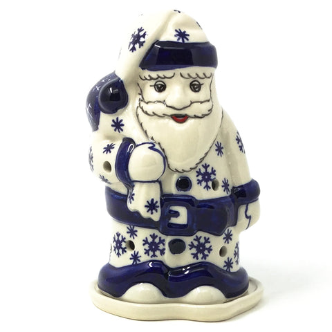 Polish Pottery Santa Tea Candle in Snowflake Pattern