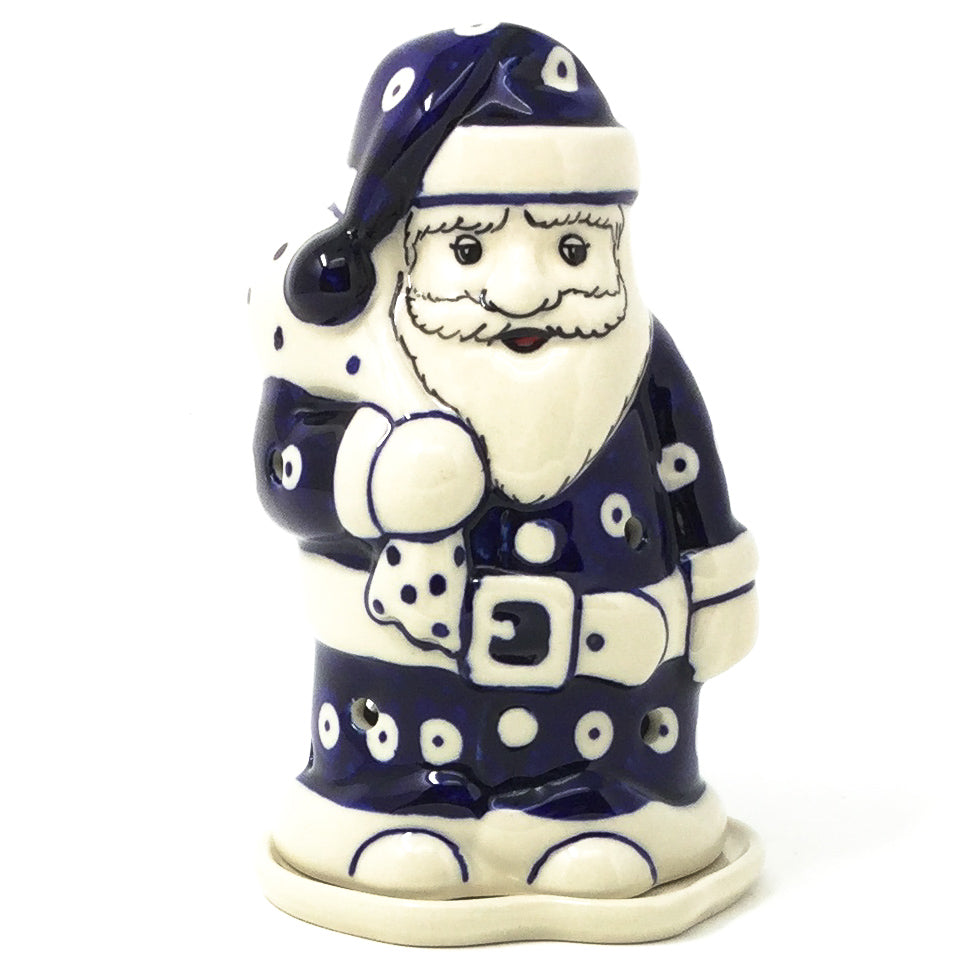 Polish Pottery Santa Tea Candle Holder in Classic Holly Classic Holly
