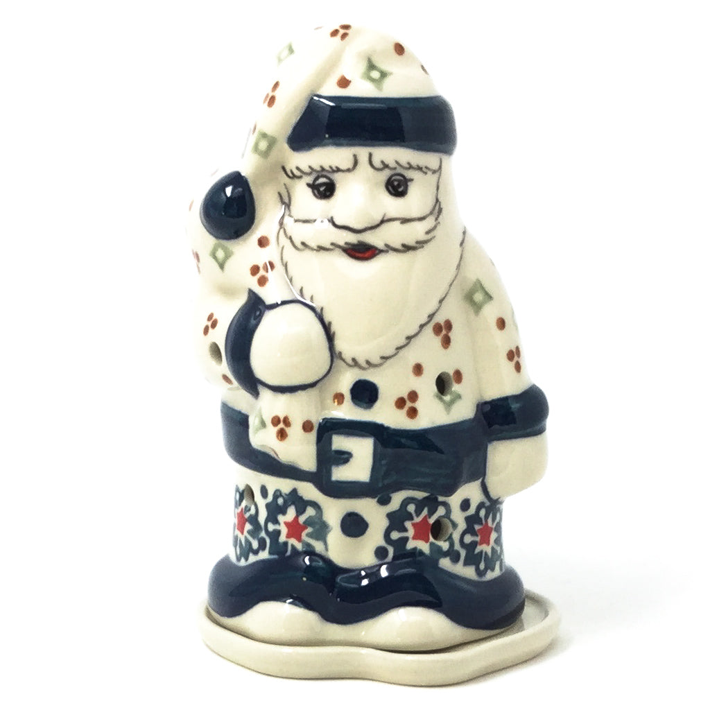 Polish Pottery Santa Tea Candle Holder in Christmas Bells Christmas Bells