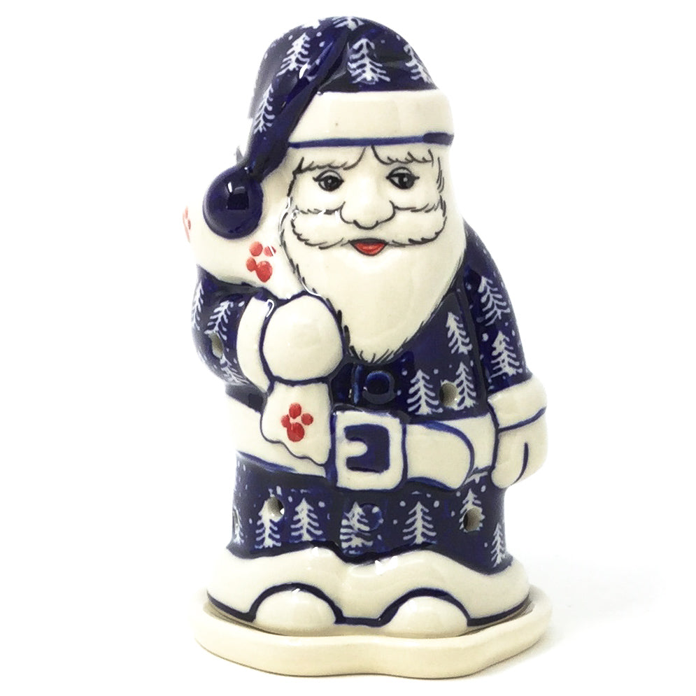 Polish Pottery Santa Tea Candle Holder in Winter Holly Winter Ivy