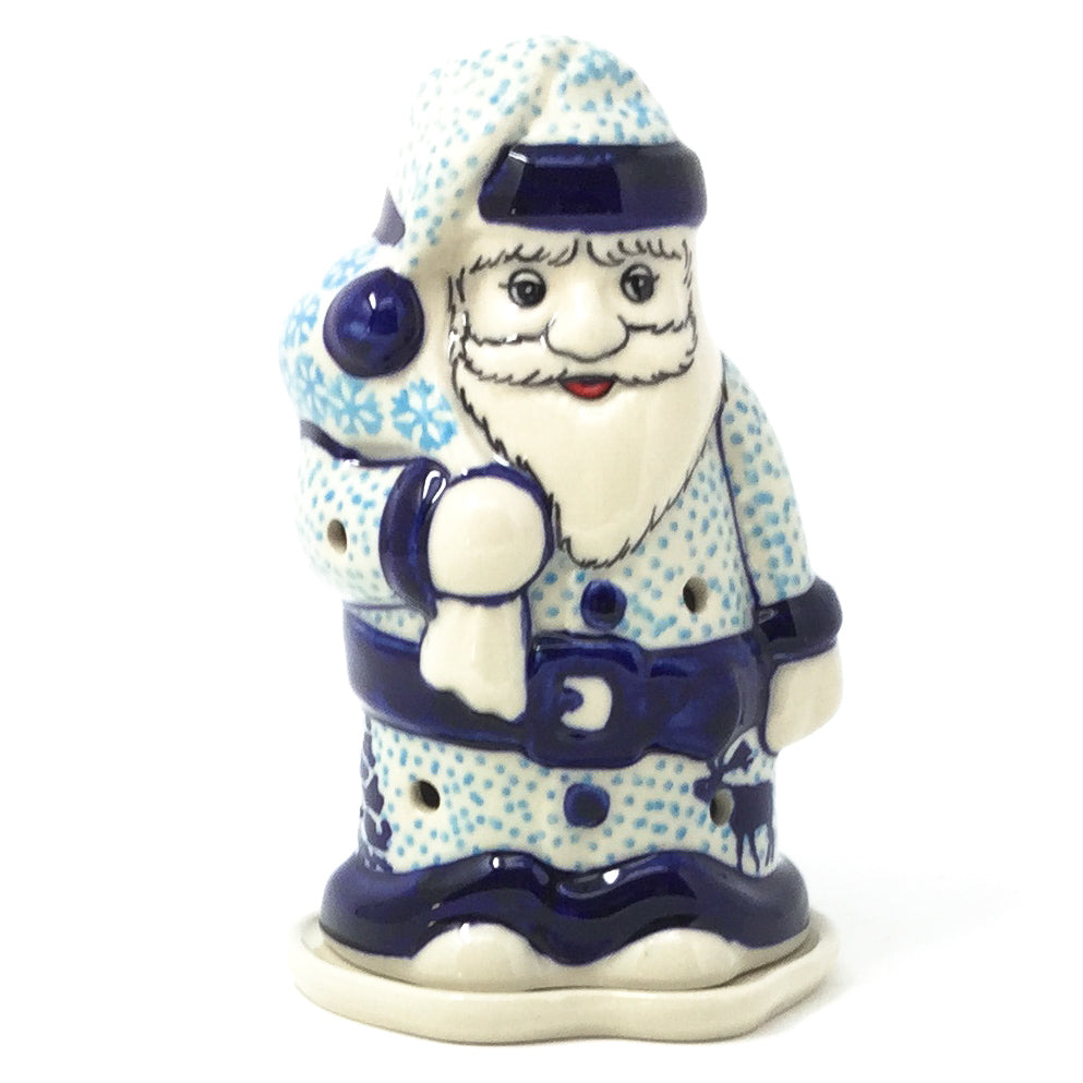 Polish Pottery Santa Tea Candle Holder in Winter Moose Winter Moose
