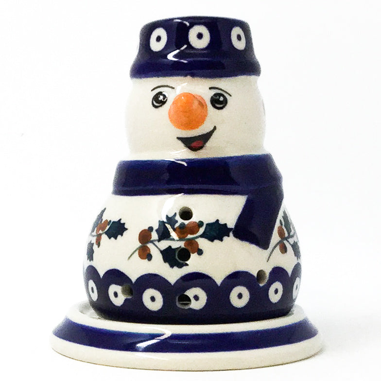 Polish Pottery Snowman Tea Candle Holder in Classic Holly Classic Holly