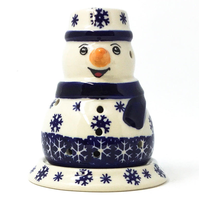 Polish Pottery Snowman Tea Candle Holder in Snowflake Snowflake