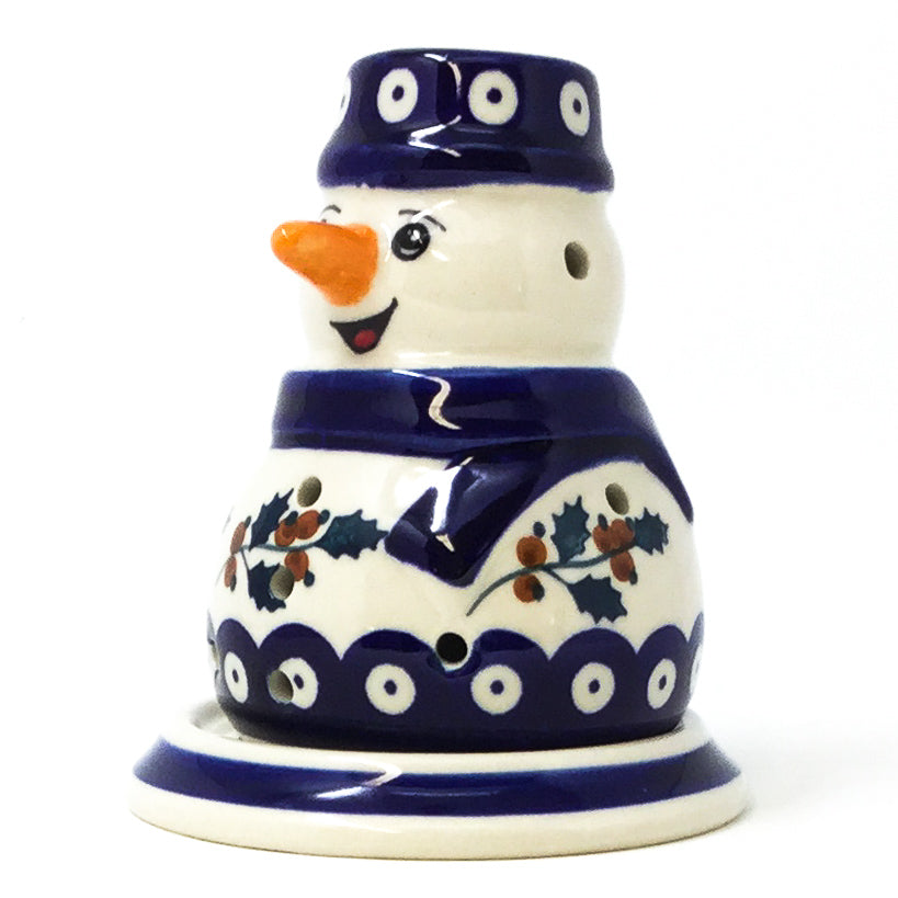 Snowman Tea Candle Holder in Classic Holly