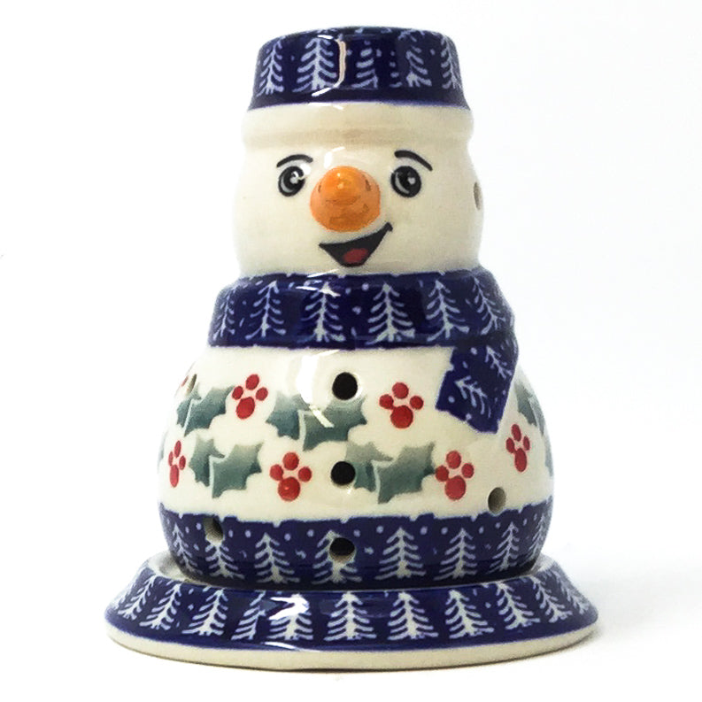 Polish Pottery Snowman Tea Candle Holder in Winter Holly Winter Ivy