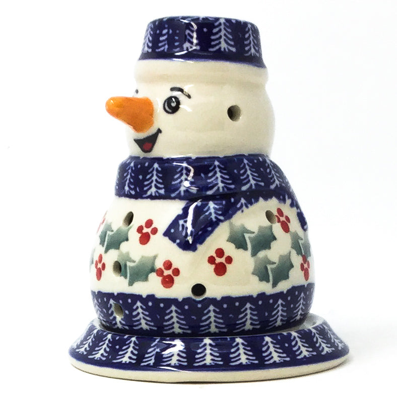 Snowman Tea Candle Holder in Winter Holly