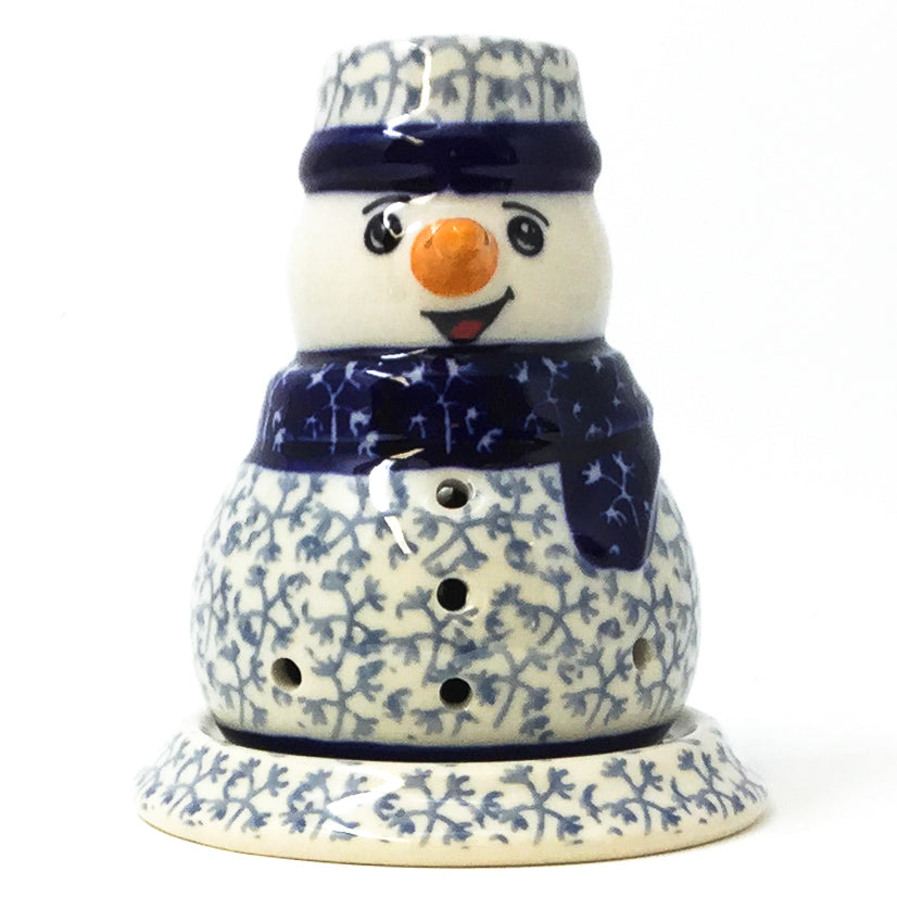 Polish Pottery Snowman Tea Candle Holder in Light & Dark Snowflake Light & Dark Snowflake