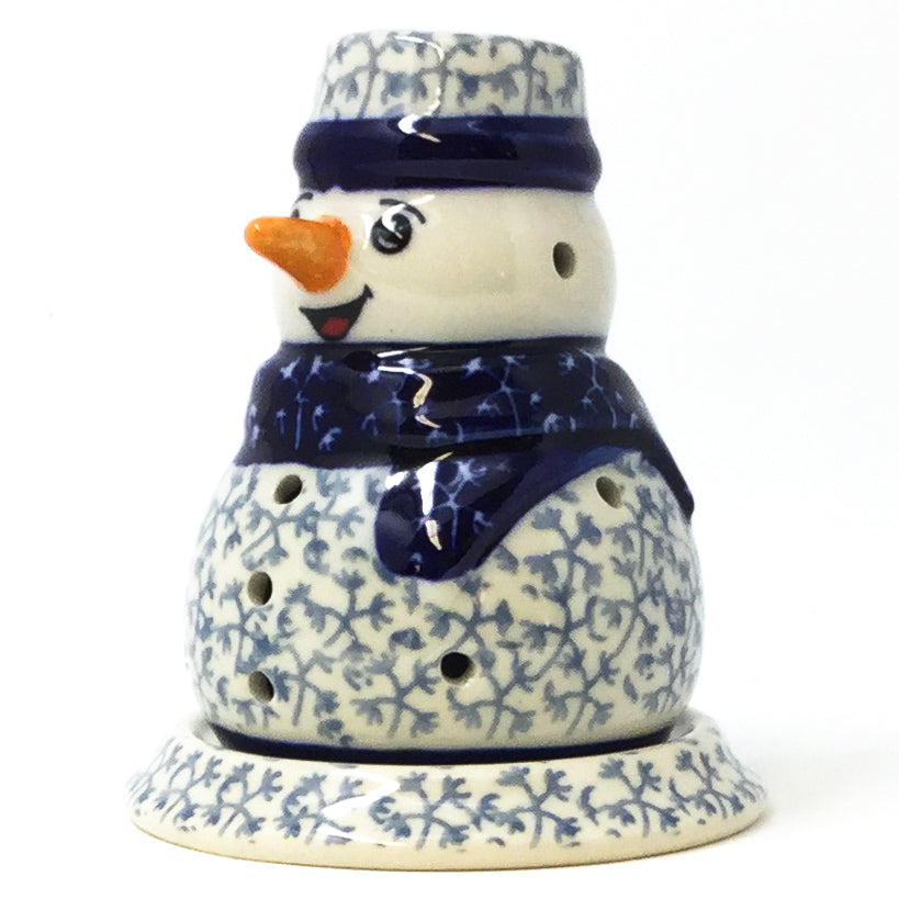 Snowman Tea Candle Holder in Light & Dark Snowflake