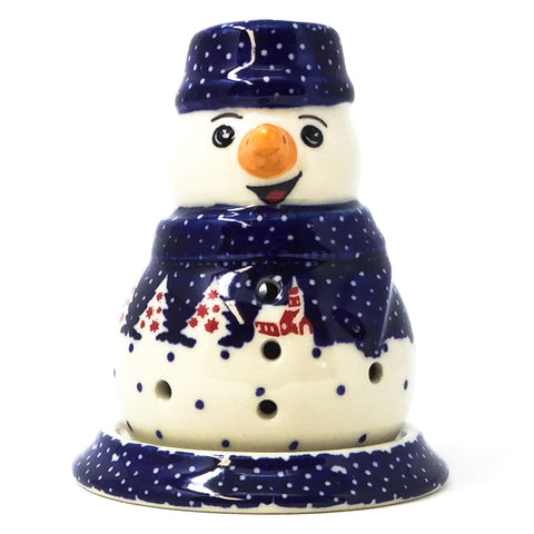 Polish Pottery Snowman Tea Candle in Winter Village Pattern