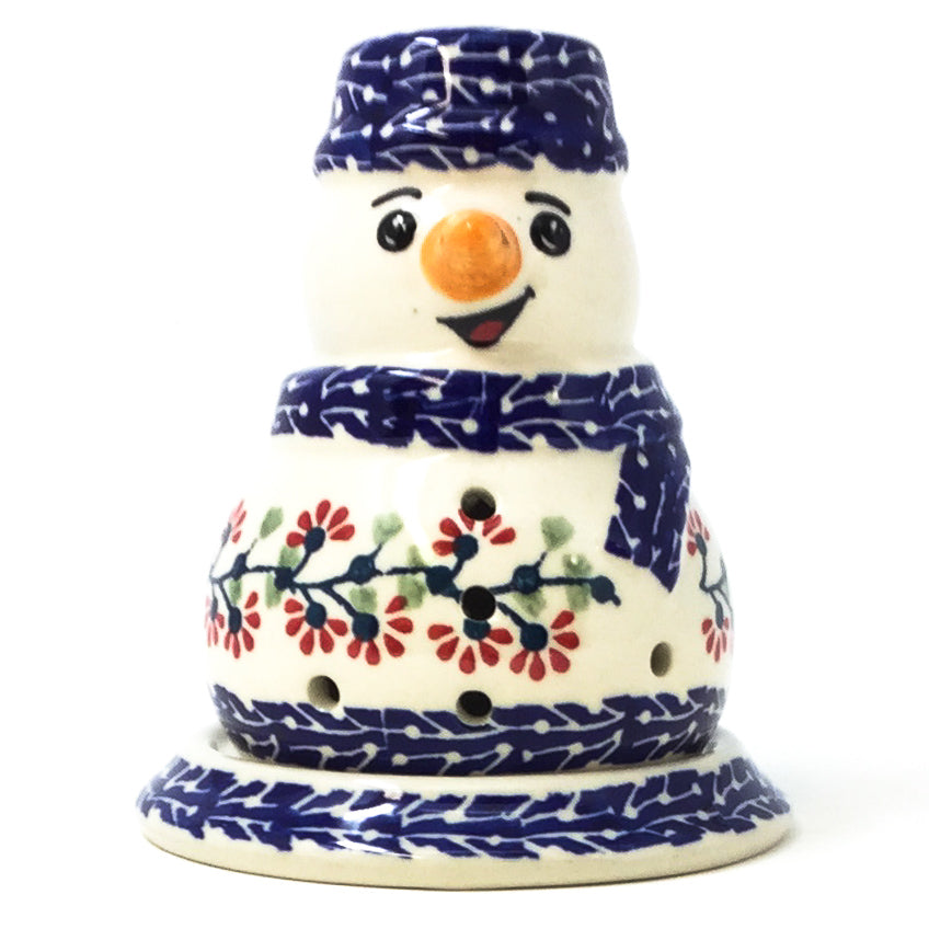 Polish Pottery Snowman Tea Candle Holder in Red Cherry Red Cherry