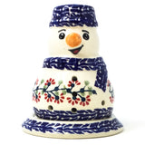 Polish Pottery Snowman Tea Candle in Red Cherry Pattern