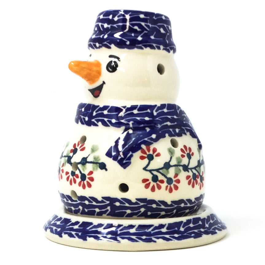 Snowman Tea Candle Holder in Red Cherry