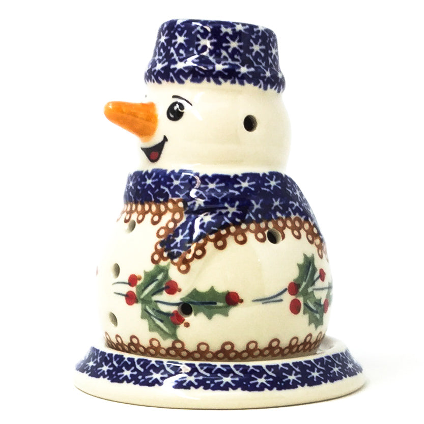 Snowman Tea Candle Holder in Holly