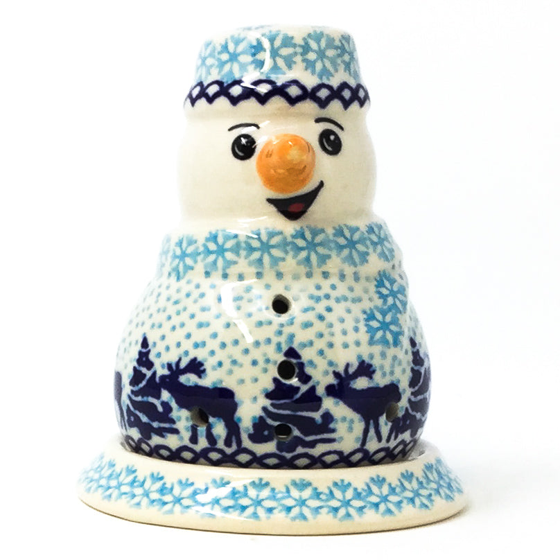 Polish Pottery Snowman Tea Candle Holder in Winter Moose Winter Moose