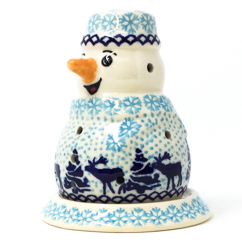Snowman Tea Candle Holder in Winter Moose
