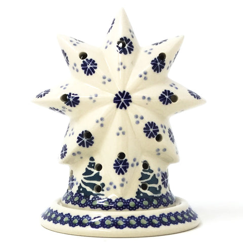 Polish Pottery Star Tea Candle Holder in Christmas Trees Christmas Trees