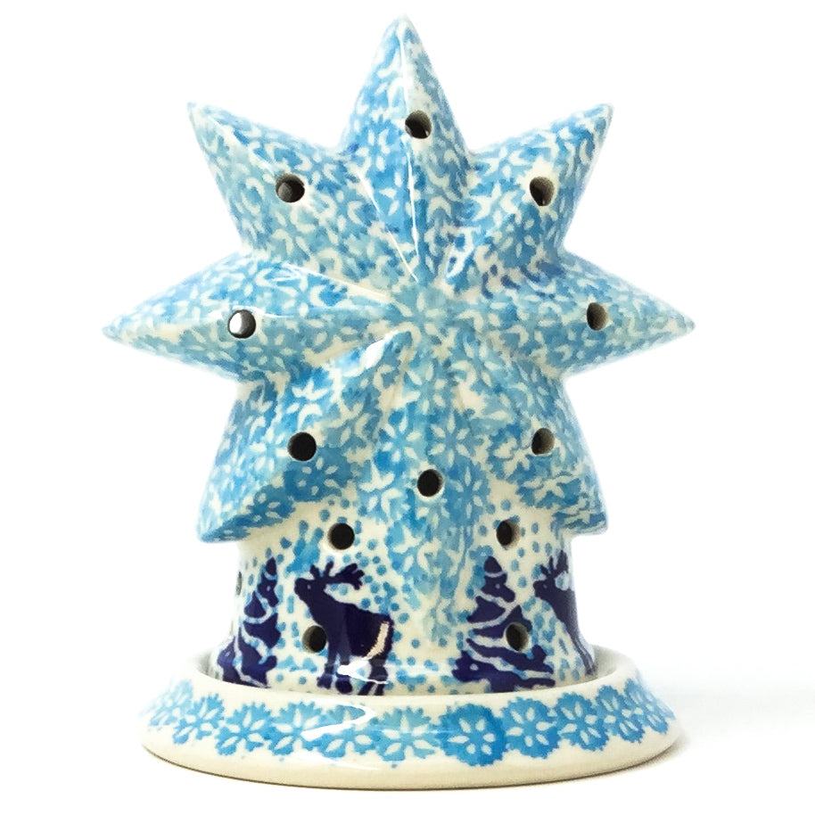 Polish Pottery Star Tea Candle Holder in Winter Moose Winter Moose