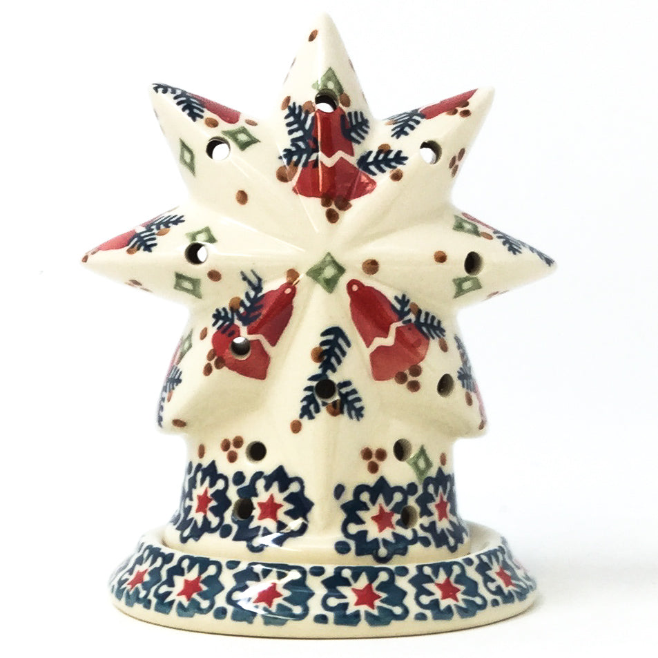 Polish Pottery Star Tea Candle Holder in Christmas Bells Christmas Bells
