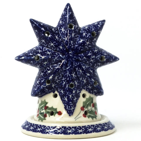 Polish Pottery Star Tea Candle Holder in Holly Holly