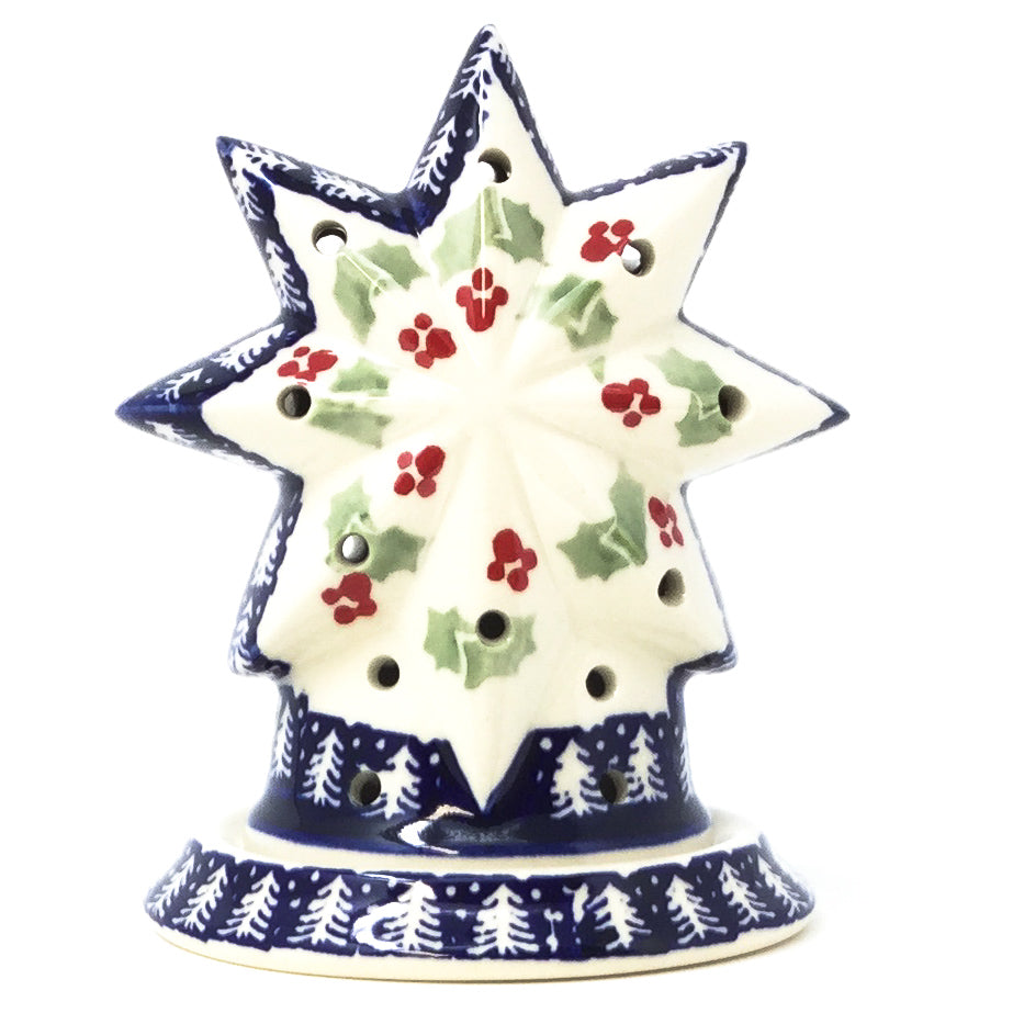 Polish Pottery Star Tea Candle Holder in Winter Holly Winter Holly