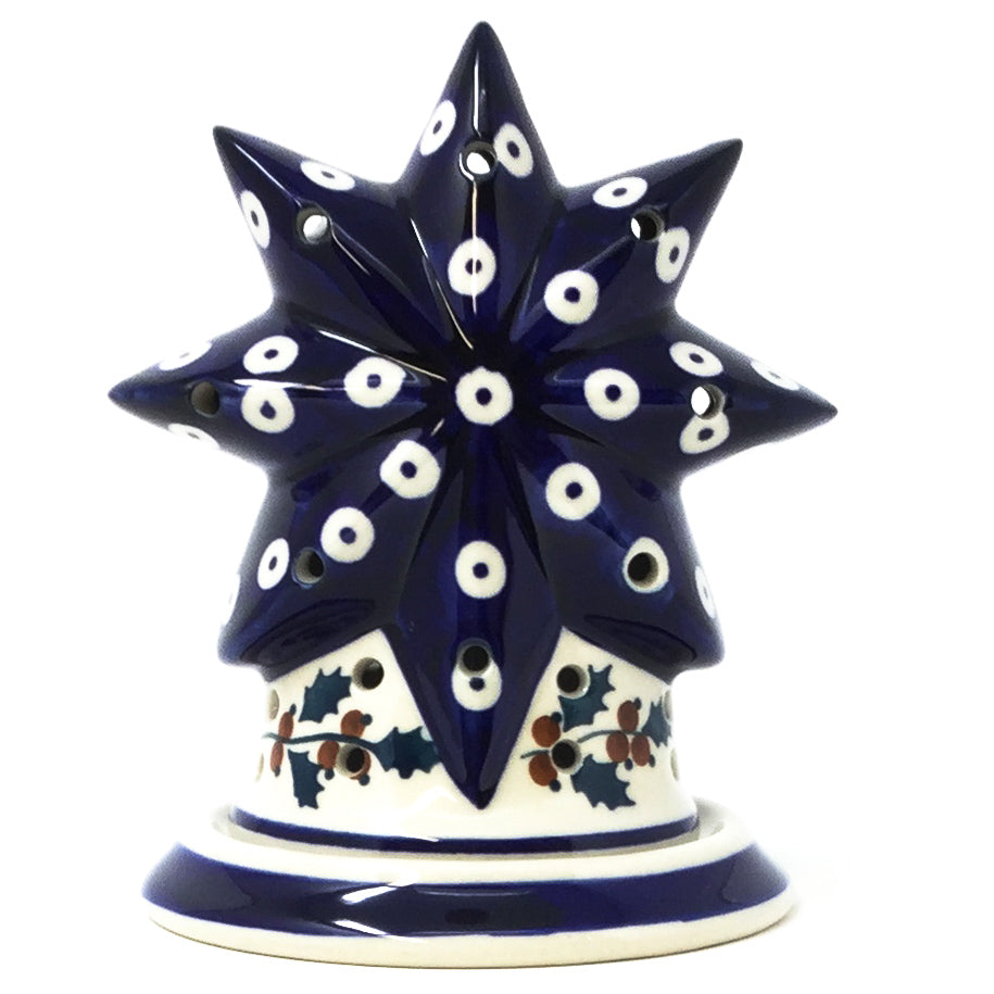 Polish Pottery Star Tea Candle Holder in Classic Holly Classic Holly