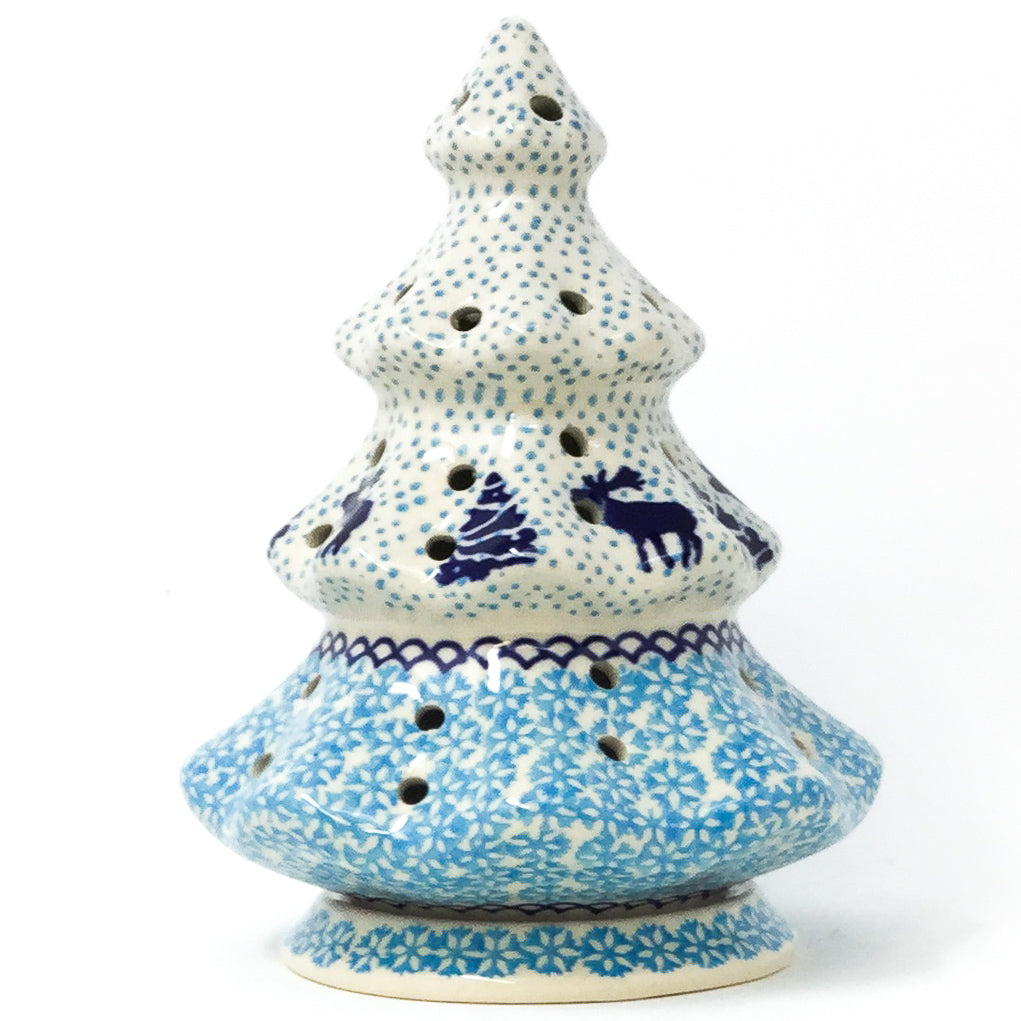Polish Pottery Tree Tea Candle Holder in Winter Moose Winter Moose