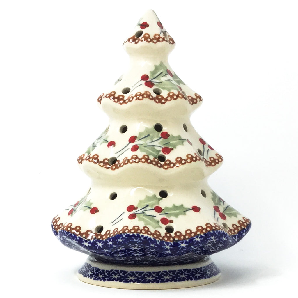 Polish Pottery Tree Tea Candle Holder in Holly Pattern in Holly Holly