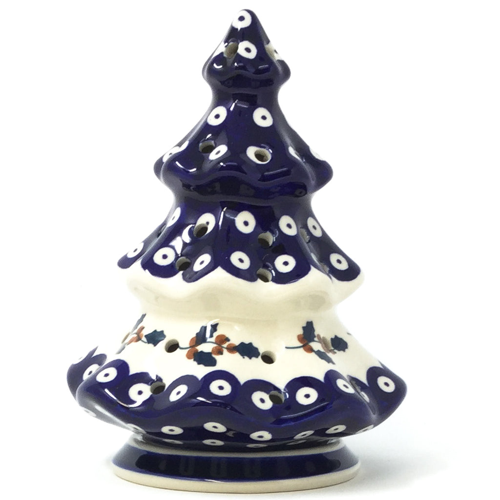 Polish Pottery Tree Tea Candle Holder in Classic Holly Classic Ivy