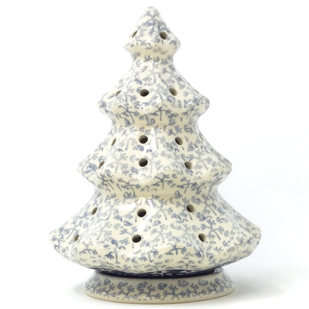 Polish Pottery Tree Tea Candle Holder in Light & Dark Snowflake Light & Dark Snowflake