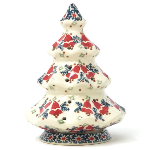 Polish Pottery Tree Tea Candle Holder in Christmas Bells Pattern Christmas Bells