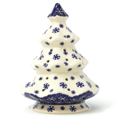 Polish Pottery Tree Tea Candle Holder in Snowflake Pattern Snowflake