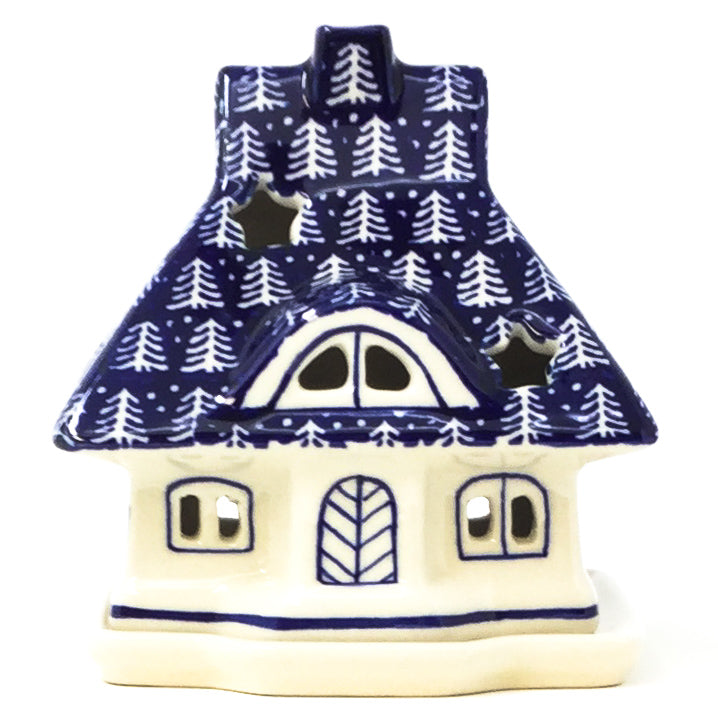 Polish Pottery House Tea Candle Holder in Winter Holly Winter Ivy