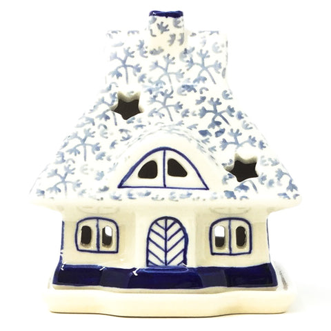 Polish Pottery House Tea Candle Holder in Light & Dark Snowflake Light & Dark Snowflake