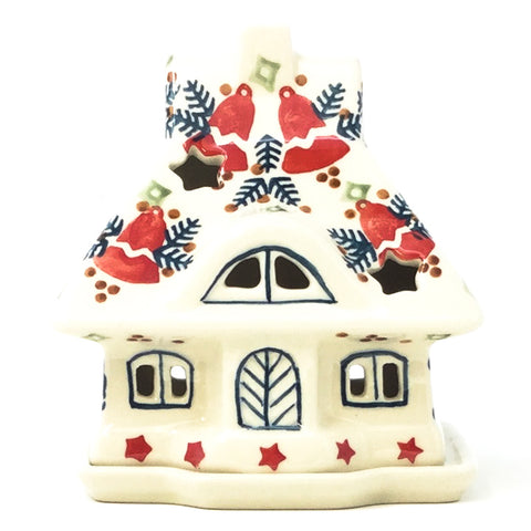 Polish Pottery House Tea Candle Holder in Christmas Bells Christmas Bells