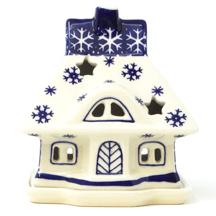 Polish Pottery House Tea Candle Holder in Snowflake Snowflake