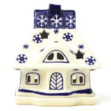 Polish Pottery House Tea Candle in Snowflake Pattern