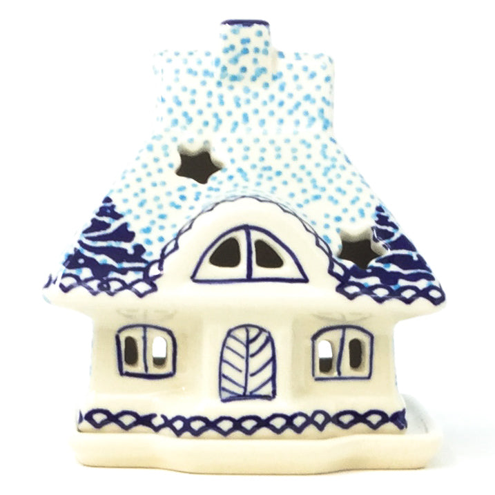 Polish Pottery House Tea Candle Holder in Winter Moose Winter Moose